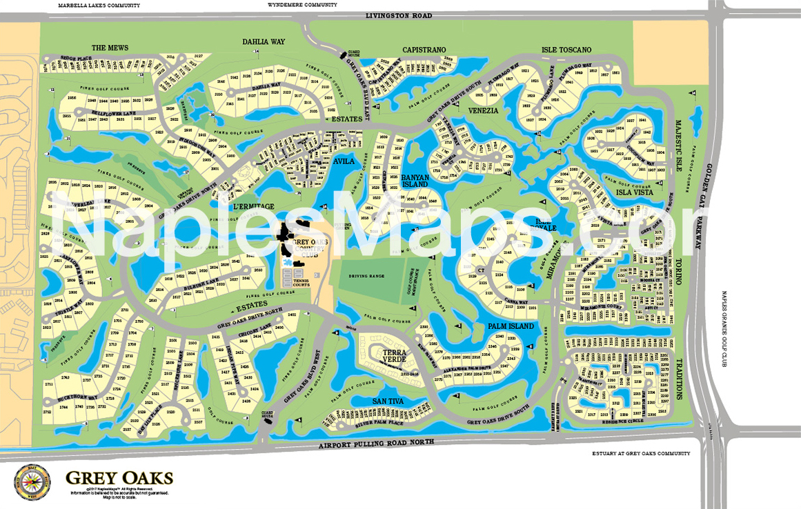 Map of Grey Oaks Naples