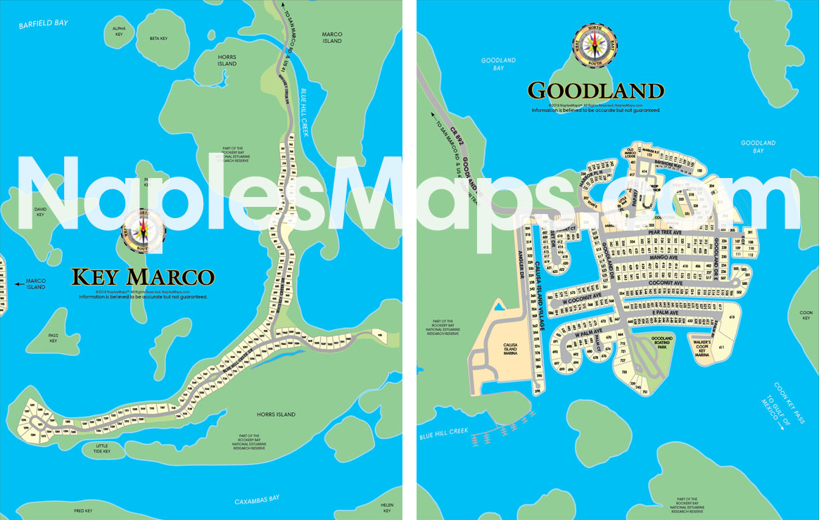 Maps of Key Marco and of Goodland Florida