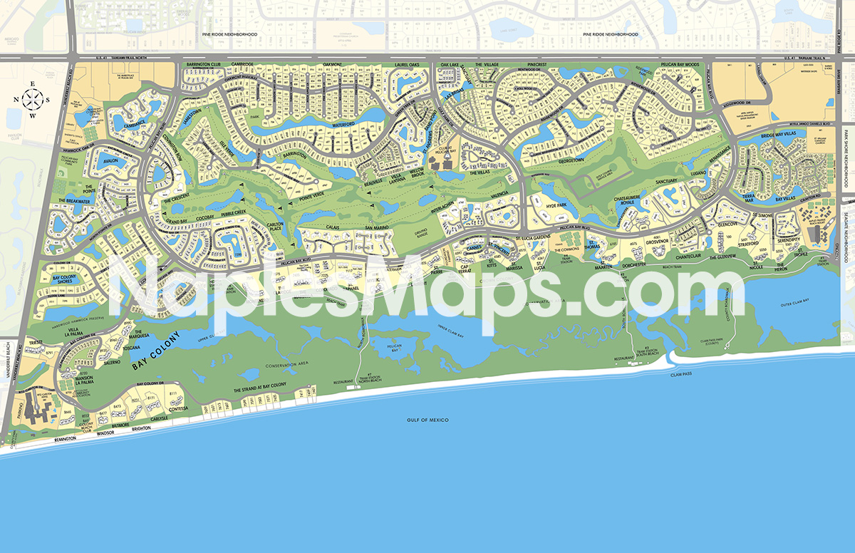 Map of Pelican Bay Naples