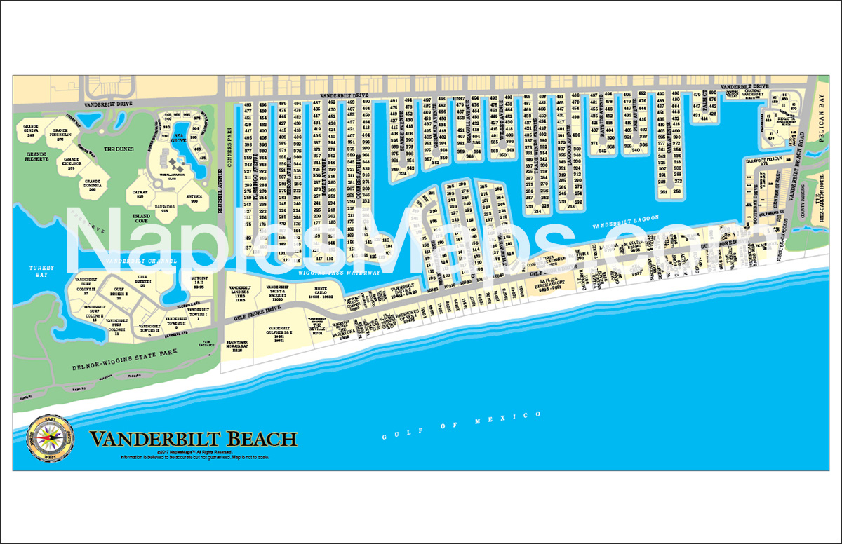 Map of Vanderbilt Beach Naples