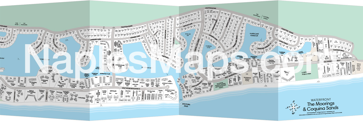 Map of waterfront in The Moorings & Coquina Sands Naples