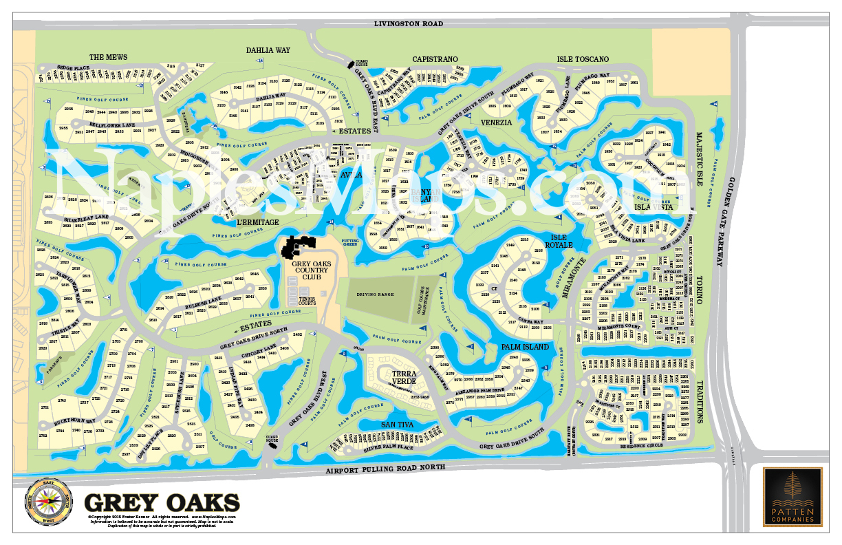 Map Of Grey Oaks Customized Sample Naples Florida