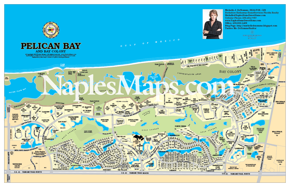 Map Pelican Bay Area Customized Sample Naples Florida