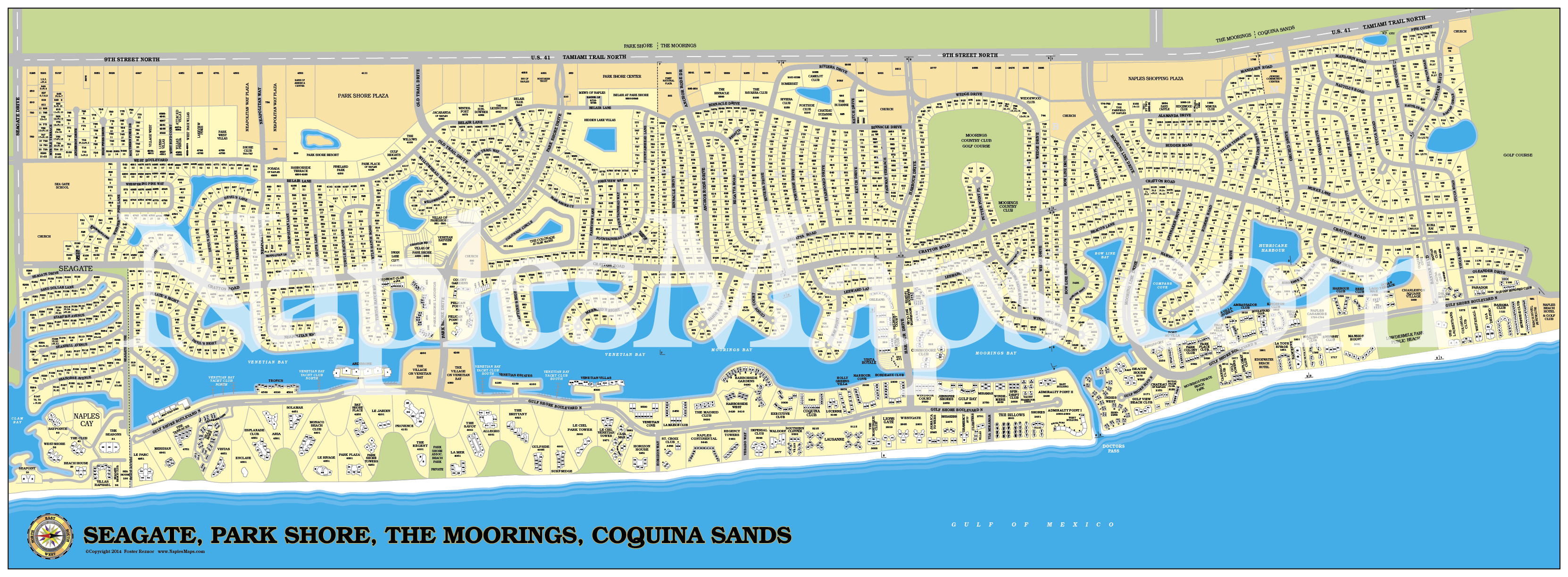 Map Park Shore Moorings Coquina Sands Naples Florida